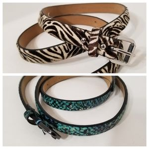 2 Ann Taylor Medium Designer belts Zebra Fur snake